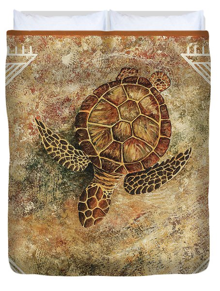 Duvet Cover featuring the painting Maui Honu by Darice Machel McGuire