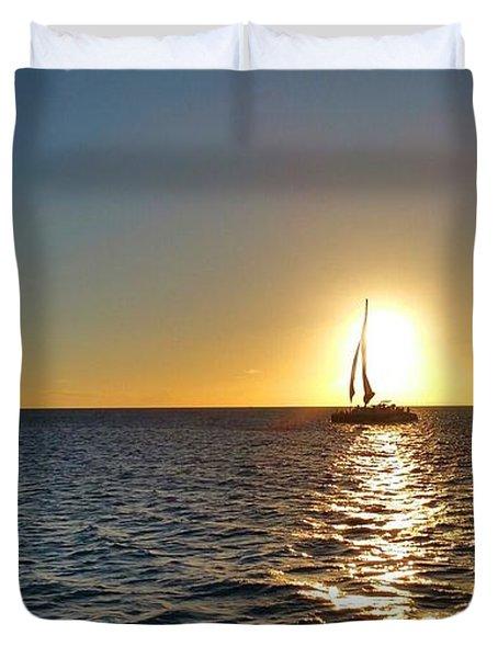 Maui Sailboat Sunset Duvet Cover