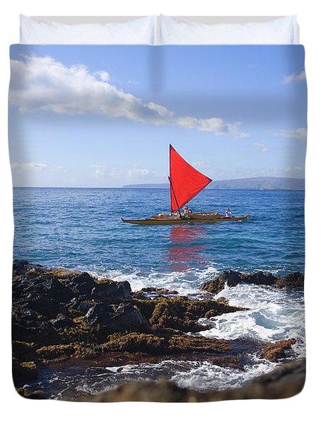 Maui Sailing Canoe Duvet Cover by Ron Dahlquist - Printscapes
