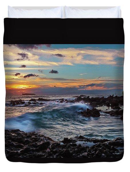 Maui Sunset At Secret Beach Duvet Cover