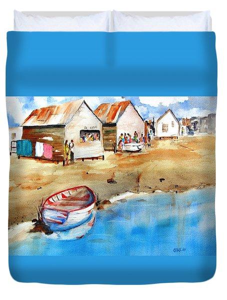 Mauricio's Village - Beach Huts Duvet Cover