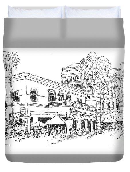 Max's Cafe In Mizner Park, Florida Duvet Cover