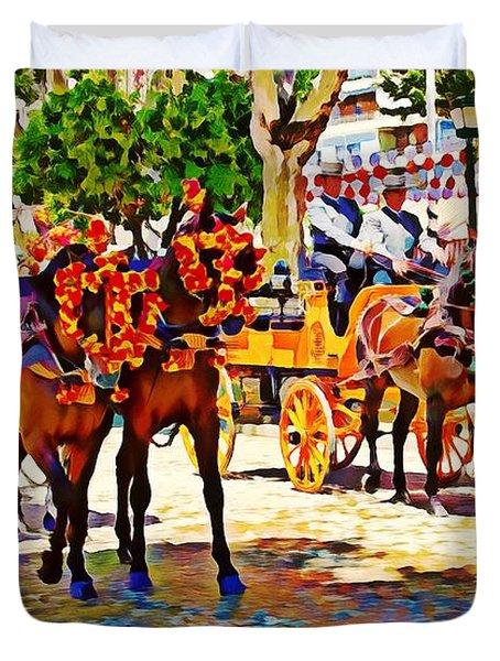 May Day Fair In Sevilla, Spain Duvet Cover