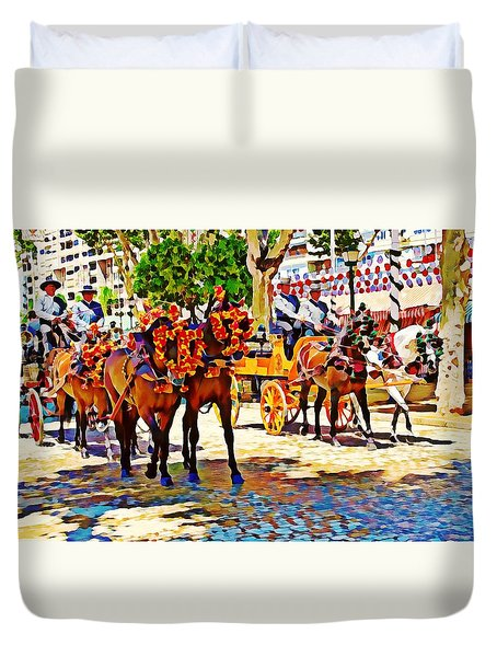 May Day Fair In Sevilla, Spain Duvet Cover