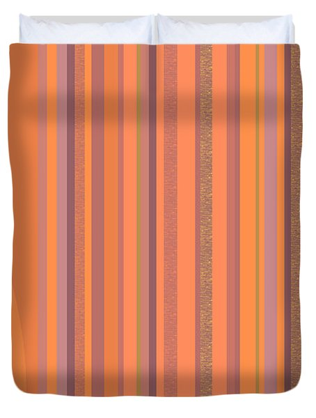 Duvet Cover featuring the digital art May Morning Vertical Stripes by Val Arie