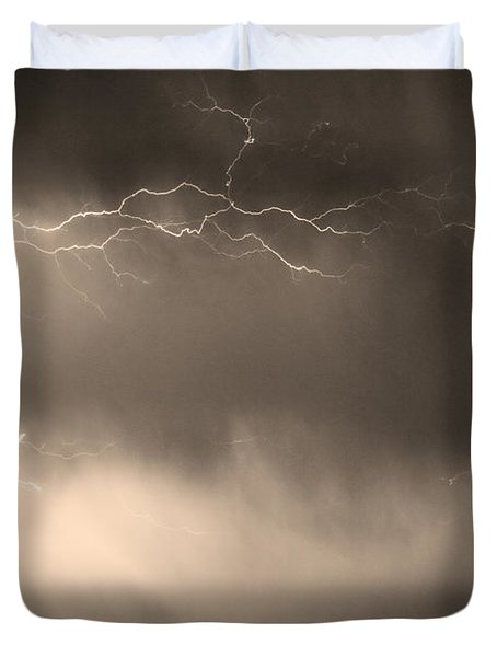 May Showers 2 In Sepia - Lightning Thunderstorm 5-10-2011   Duvet Cover by James BO  Insogna