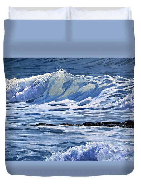 Duvet Cover featuring the painting May Wave by Lawrence Dyer