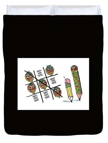 Mayan Tic Tac Toe Duvet Cover
