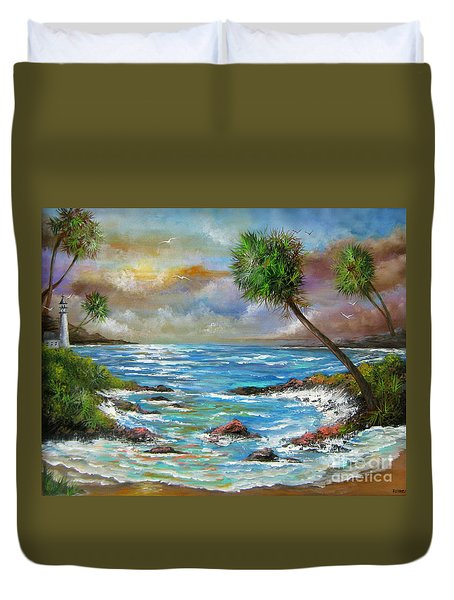 Duvet Cover featuring the painting Maybe Tomorrow by Patrice Torrillo