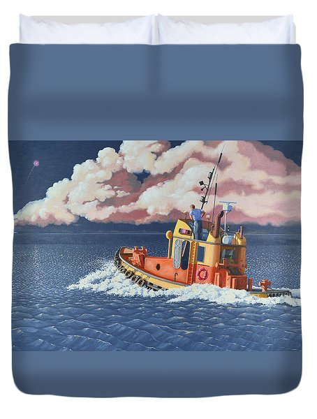Duvet Cover featuring the painting Mayday- I Require A Tug by Gary Giacomelli