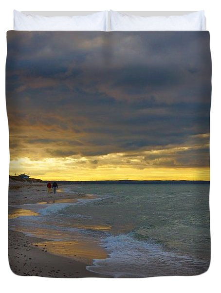 Mayflower Beach Walk Duvet Cover