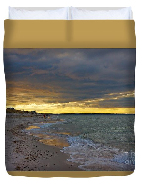 Mayflower Beach Walk Duvet Cover by Amazing Jules