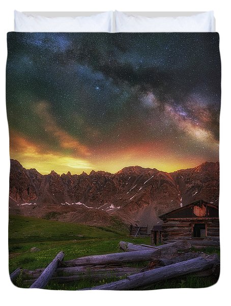 Duvet Cover featuring the photograph Mayflower Milky Way by Darren White