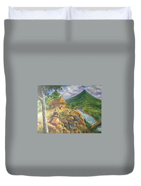 Mayon Scene #1 Duvet Cover by Manuel Cadag