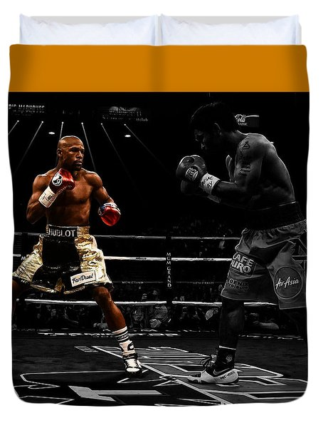 Duvet Cover featuring the digital art Mayweather And Pacquiao by Brian Reaves