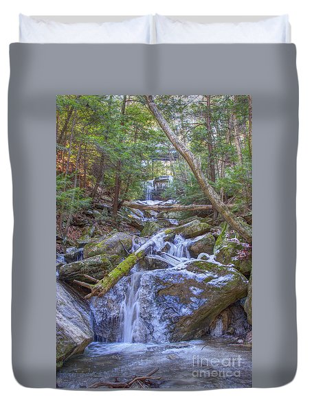 Duvet Cover featuring the digital art Mcconnells Mill Rock Falls Winter  by Randy Steele