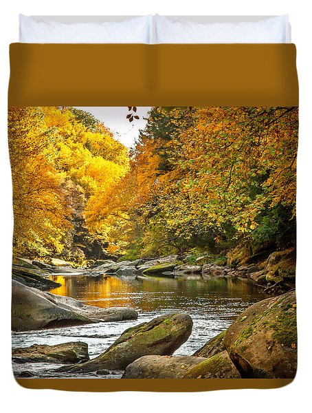 Duvet Cover featuring the photograph Mcconnell's Mill State Park by Skip Tribby