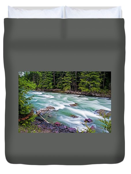 Duvet Cover featuring the photograph Mcdonald Creek by Gary Lengyel