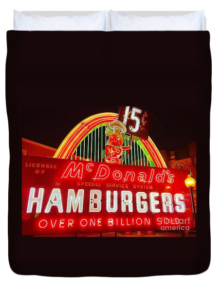 Mcdonald's Historical Neon Duvet Cover
