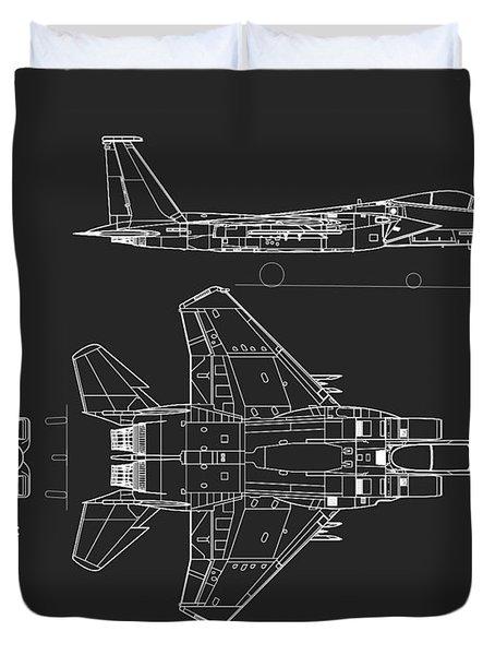 Mcdonnell Douglas F-15 Eagle Grey Diagram Duvet Cover