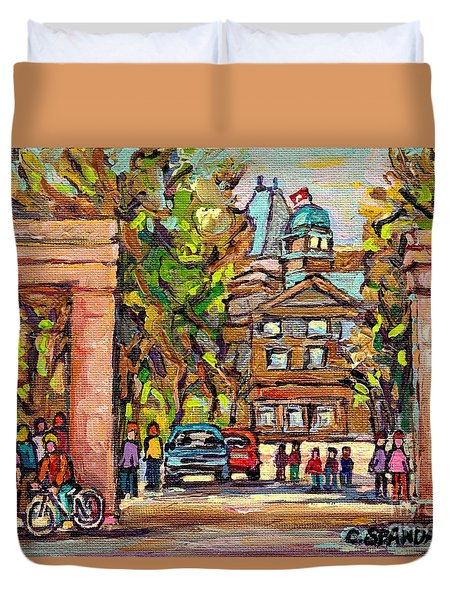 Mcgill Gates  Entrance Of Mcgill University Montreal Quebec Original Oil Painting Carole Spandau Duvet Cover