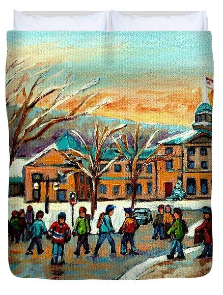 Mcgill Gates Sherbrooke Street Montreal Duvet Cover by Carole Spandau