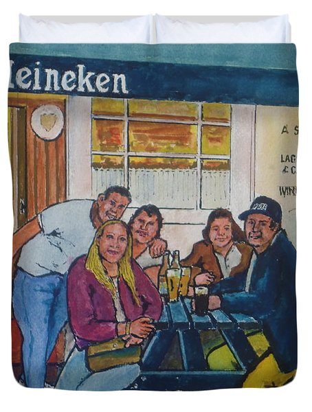 Amber At Mcglynn's Pub In London, England Duvet Cover