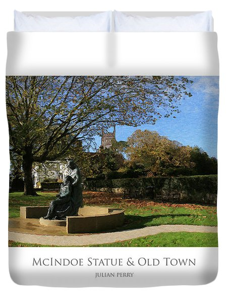 Duvet Cover featuring the digital art Mcindoe Statue by Julian Perry