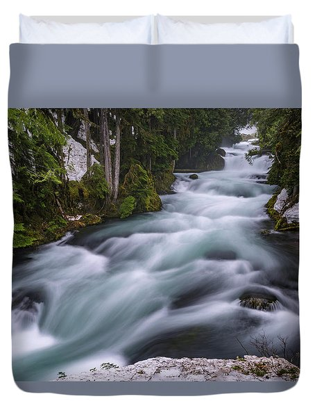 Duvet Cover featuring the photograph Mckenzie River by Cat Connor