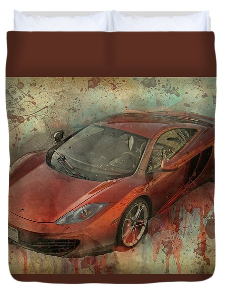 Duvet Cover featuring the photograph Mclaren Graffiti by Joel Witmeyer