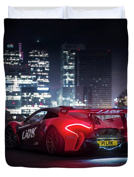 Mclaren P1 Gtr In London Duvet Cover