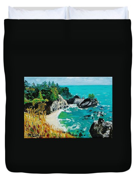 Mcway Falls  Big Sur Duvet Cover by Mike Caitham