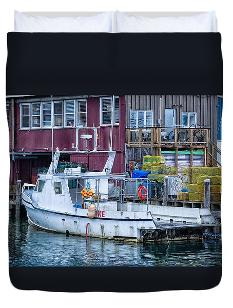 Me Lobster Boat Duvet Cover by Denis Lemay