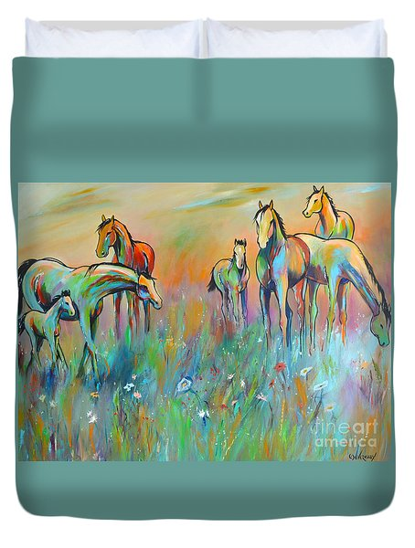 Duvet Cover featuring the painting Meadow by Cher Devereaux