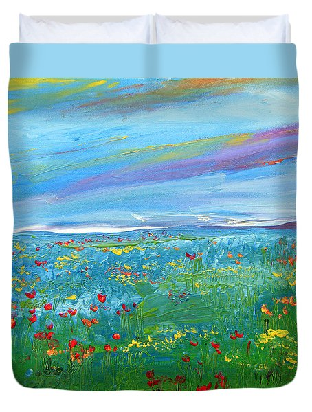 Meadow Drops By Colleen Ranney Duvet Cover
