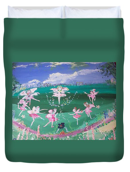 Duvet Cover featuring the painting Meadow Fairies by Judith Desrosiers