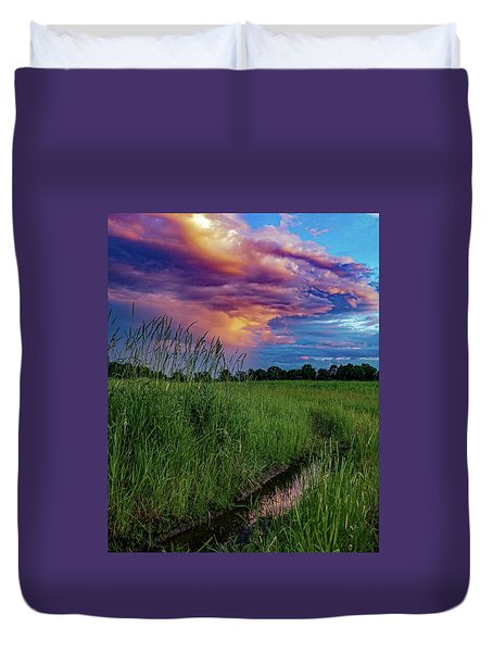 Duvet Cover featuring the photograph Meadow Lark by Kendall McKernon