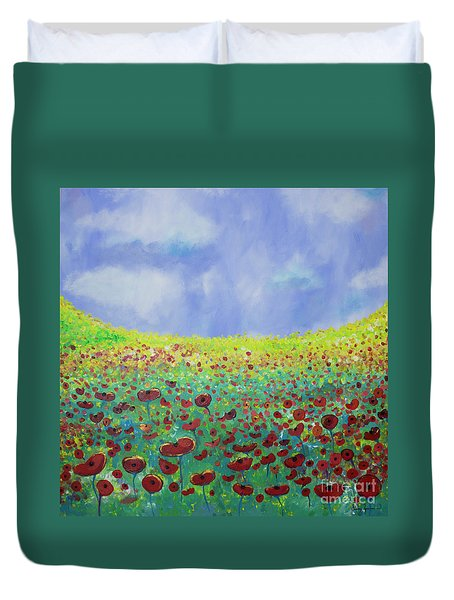 Meadow Of Poppies  Duvet Cover