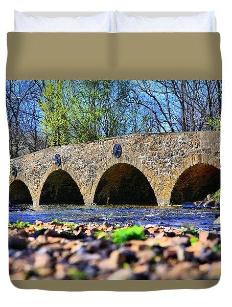 Duvet Cover featuring the photograph Meadows Road Bridge by DJ Florek