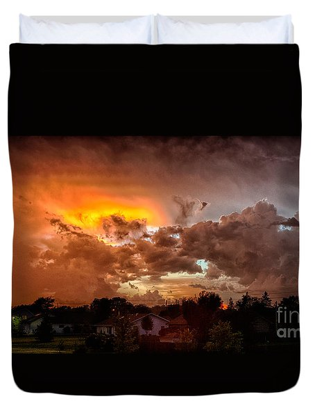 Duvet Cover featuring the photograph Mean Skies From Off My Deck  by Ricky L Jones