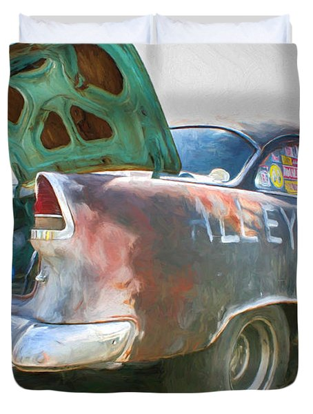 Duvet Cover featuring the painting Mean Streets by Michael Cleere