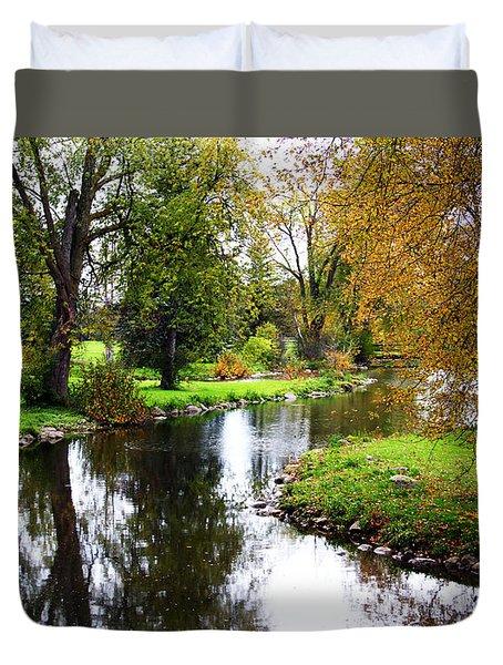 Meandering Creek In Autumn Duvet Cover