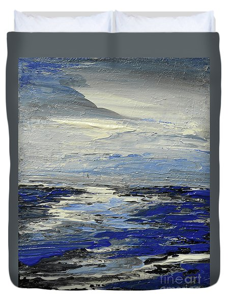 Duvet Cover featuring the painting Meaning And Hue by Tatiana Iliina