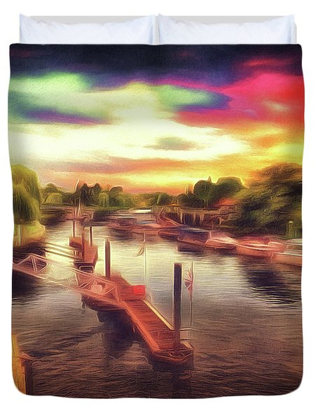 Meanwhile Back On The River Duvet Cover
