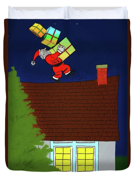 Duvet Cover featuring the digital art Meanwhile Up On The Housetop by John Haldane