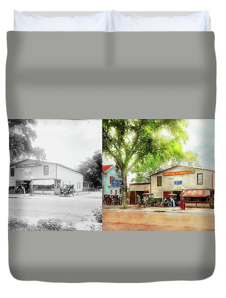 Duvet Cover featuring the photograph Mechanic - All Cars Finely Tuned 1920 - Side By Side by Mike Savad