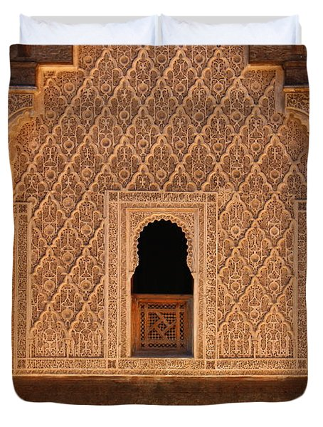 Duvet Cover featuring the photograph Medersa Ben Youssef by Ramona Johnston