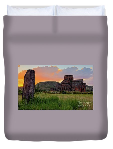 Mediaval Talin's Cathedral At Sunset With Cross Stone In Front, Armenia Duvet Cover by Gurgen Bakhshetsyan