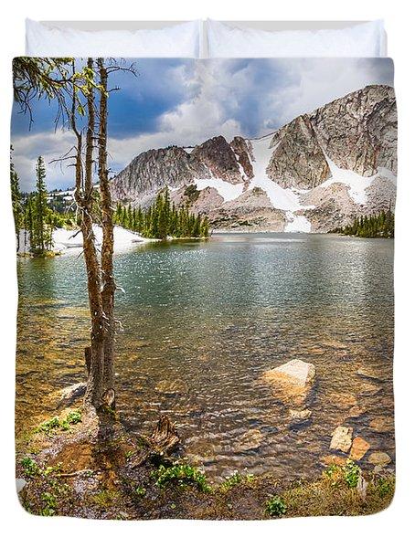 Medicine Bow Snowy Mountain Range Lake View Duvet Cover