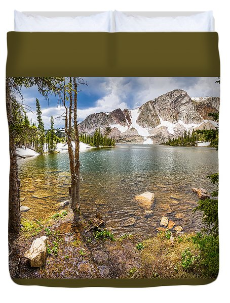 Medicine Bow Snowy Mountain Range Lake View Duvet Cover
